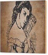 Vintage Women Color Art 90 Wood Print