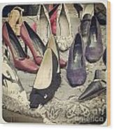 Vintage Women Shoes Wood Print