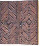 Vintage Wooden Brown Door Close-up Wood Print
