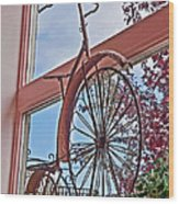 Vintage Wrought Iron Bike In Window Art Prints Wood Print