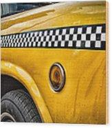Vintage Yellow Cab Wood Print by John Farnan