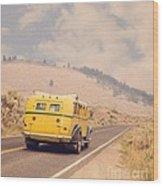 Vintage Yellowstone Bus Wood Print
