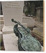 Violen Sculpture In Pere Lachaise Cemetery Wood Print