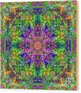 Violet Cosmos Mandala Wood Print
