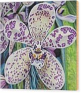 Violet Dotted Orchid Wood Print