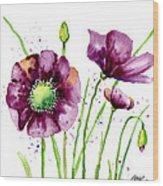 Violet Poppies Wood Print by Annie Troe