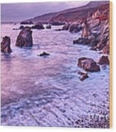 Violet Tides - Rocky Coast From Soberanes Point In Garrapata State  Wood Print