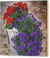 Violets And Geraniums On The Bricks Wood Print