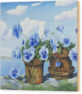 Violets On The Beach Wood Print