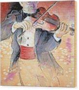 Violin Man Wood Print