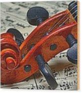 Violin Scroll Up Close Wood Print