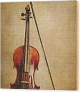 Violin With Bow Wood Print