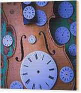 Violin With Watch Faces Wood Print by Garry Gay