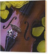 Violin With Yellow Rose Wood Print