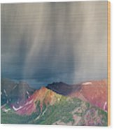 Virga And Storm Moving Over Mountains Wood Print