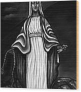 Virgen Mary In Black And White Wood Print
