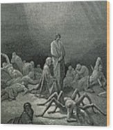 Virgil And Dante Looking At The Spider Woman, Illustration From The Divine Comedy Wood Print
