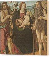 Virgin And Child Between St. John Wood Print