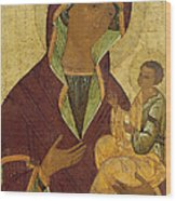 Virgin And Child Wood Print by Russian School