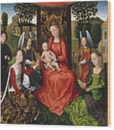 Virgin And Child With Saints Catherine Of Alexandria And Barbara Wood Print