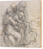 Virgin And Child With St. Anne Wood Print by Leonardo da Vinci