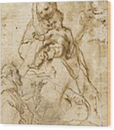 Virgin And Child With Saint Francis Wood Print