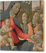 Virgin And Child With St John The Baptist And The Three Archangels Wood Print