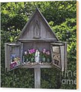 Virgin Mary Shrine Wood Print