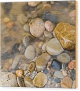 Virgin River Pebbles Wood Print
