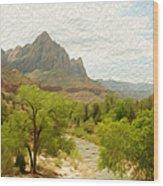 Virgin River Through Zion National Park 2 Wood Print