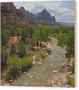 Virgin River Through Zion National Park Wood Print