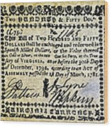 Virginia Banknote, 1781 Wood Print