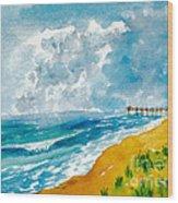 Virginia Beach With Pier Wood Print
