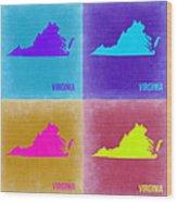 Virginia Pop Art Map 2 Wood Print