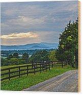 Virginia Road At Sunset Wood Print