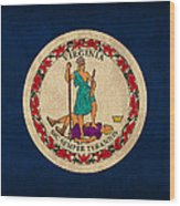 Virginia State Flag Art On Worn Canvas Wood Print
