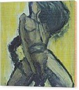 Virgo Nude Woman In Yellow Wood Print