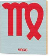 Virgo Zodiac Sign Red Wood Print