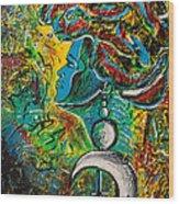 Visage Bleu Wood Print