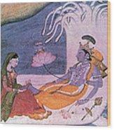 Vishnu And Lakshmi Float Across Cosmos Wood Print by Photo Researchers