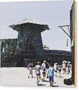 Visitors Heading Towards The Waterworld Attraction At Universal Studios Wood Print