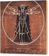 Vitruvian Cyberman On Mars Wood Print