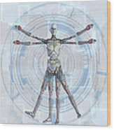 Vitruvian Man 3000 Wood Print by Frederico Borges