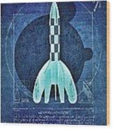 Vitruvian Tintin In Space Wood Print