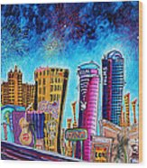Viva Las Vegas A Fun And Funky Pop Art Painting Of The Vegas Skyline And Sign By Megan Duncanson Wood Print