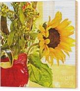 Vivid Cheery Sunflower Bouquet Wood Print