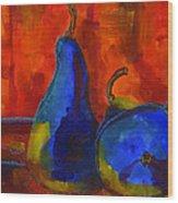 Vivid Pears Art Painting Wood Print by Blenda Studio