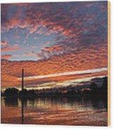 Vivid Skyscape - Summer Sunset At Toronto Beaches Marina Wood Print