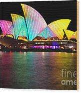 Vivid Sydney 2014 - Opera House 1 By Kaye Menner Wood Print