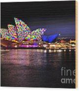 Vivid Sydney 2014 - Opera House 5 By Kaye Menner Wood Print